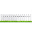 Background with a white wooden fence with grass vector image vector image