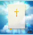 Bible with sun rays vector image