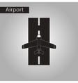 black and white style icon airplane runway vector image