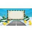 Board template with ducks on snow vector image vector image