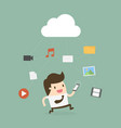 businessman using mobile phone with cloud and vector image