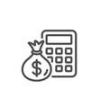 calculator with money bag line icon accounting vector image vector image