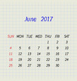 calendar for june 2017 vector image vector image