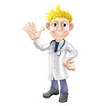 cartoon doctor waving vector image