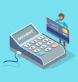 cartoon payment terminal man with debit card vector image vector image