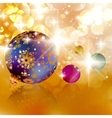 Christmas balls on abstract golden lights vector image vector image