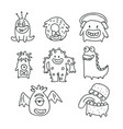 cute monsters cartoon doodles isolated vector image vector image