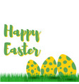decorative easter eggs on green grass vector image