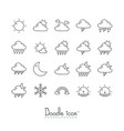 doodle weather icons vector image vector image