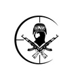 face of military man with automatic guns vector image