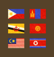 Flags of Philippines Brunei Malaysia Mongolia vector image