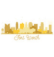 fort worth texas usa city skyline golden vector image vector image