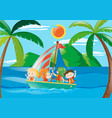 four kids on sailboat at daytime vector image