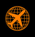 globe and plane travel sign orange icon on black vector image