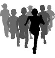 group of preschooler boys and girls running vector image vector image