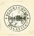 grunge rubber stamp with kuala lumpur malaysia vector image vector image