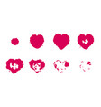 heart explosion storyboard sprite set vector image vector image