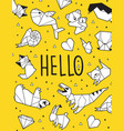 hello origami card vector image vector image