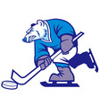 ice hockey polar bear mascot vector image vector image