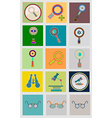 Icons with flat design elements of schedule - vector image