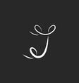 Letter J logo with curls tattoo monogram design vector image