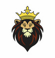 lion king mascot with crown logo design vector image vector image