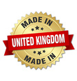 made in United Kingdom gold badge with red ribbon vector image