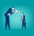 manager screaming in megaphone on man colleague vector image vector image