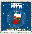 merry christmas card with snow icicles sock with vector image vector image