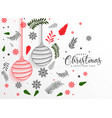 merry christmas lovely leaves and balls vector image