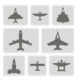 monochrome icons with different airplanes vector image vector image