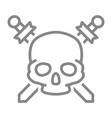pirate skull with crossed swords line icon vector image vector image