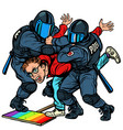 police arrest activist protest lgbt gay parade vector image