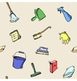 Seamless doodle pattern of house cleaning icons vector image vector image
