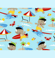 seamless pattern with rhino surfing cartoon in vector image vector image