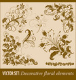 set of hand drawn decorative floral vector image vector image