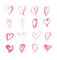 set of watercolor hearts on white background vector image