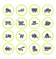 set round icons of agricultural machinery vector image