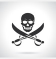 silhouette jolly roger with crossed sabers vector image vector image