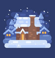 snowy blue winter village landscape with a house vector image