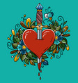 tatoo dagger piercing heart with dripping blood vector image