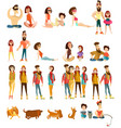 tourist people characters flat icons set vector image vector image