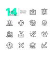 training - set of line design style icons vector image
