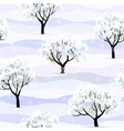 trees in snow in winter garden seamless vector image vector image