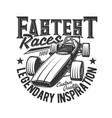 tshirt print with custom car bolide for race club vector image