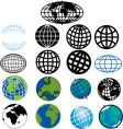 various globes and earth icons vector image vector image
