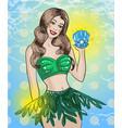 vintage pop art summer girl vector image vector image