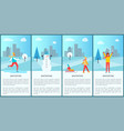 wintertime city set of posters vector image vector image