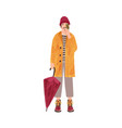 young man in raincoat flat vector image