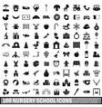 100 nursery school icons set simple style vector image vector image